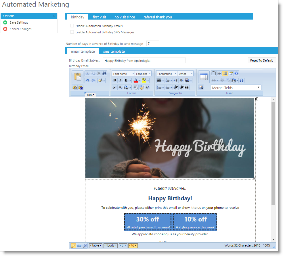 Automated Marketing Bday Email Enable Birthday Emails