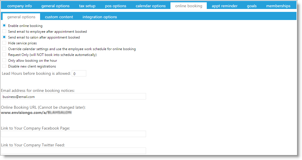 envision cloud user guide online booking general options